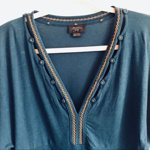 Anthropologie Tops - ANTHROPOLOGIE DELETTA Short Bell Sleeved Teal Top